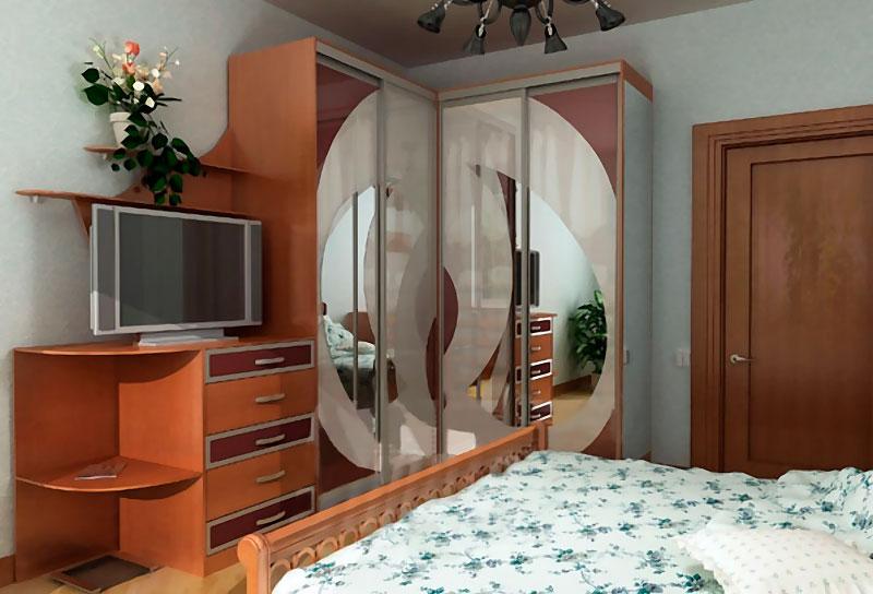 Угловые шкафы купе спальня фото